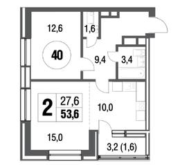 ЖК «Сиреневый парк», планировка 2-комнатной квартиры, 53.60 м²