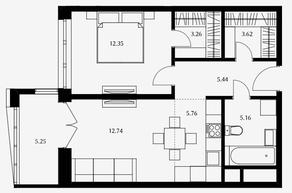 ЖК «Дом Серебряный бор», планировка 1-комнатной квартиры, 48.33 м²