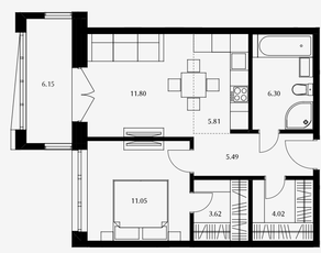 ЖК «Дом Серебряный бор», планировка 1-комнатной квартиры, 48.09 м²