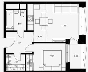 ЖК «Дом Серебряный бор», планировка 1-комнатной квартиры, 39.83 м²