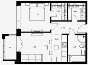 ЖК «Дом Серебряный бор», планировка 1-комнатной квартиры, 48.10 м²
