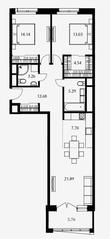 ЖК «Дом Серебряный бор», планировка 2-комнатной квартиры, 82.44 м²