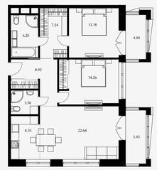 ЖК «Дом Серебряный бор», планировка 2-комнатной квартиры, 82.34 м²