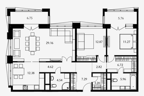 ЖК «Дом Серебряный бор», планировка 3-комнатной квартиры, 100.83 м²