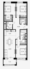 ЖК «Дом Серебряный бор», планировка 3-комнатной квартиры, 104.70 м²