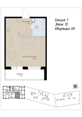 ЖК «Аалто», планировка студии, 37.00 м²