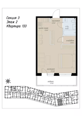 ЖК «Аалто», планировка 1-комнатной квартиры, 44.10 м²