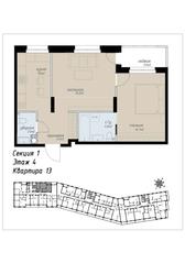 ЖК «Аалто», планировка 2-комнатной квартиры, 54.30 м²