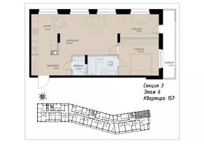ЖК «Аалто», планировка 2-комнатной квартиры, 66.50 м²