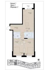 ЖК «Аалто», планировка 4-комнатной квартиры, 80.80 м²