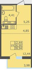 ЖК «Северный квартал», планировка студии, 28.94 м²