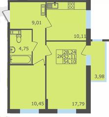 ЖК «Северный квартал», планировка 2-комнатной квартиры, 54.10 м²