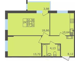 ЖК «Северный квартал», планировка 2-комнатной квартиры, 57.26 м²
