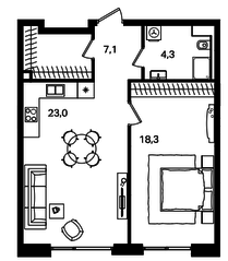 МФК «Level Павелецкая», планировка 2-комнатной квартиры, 52.70 м²