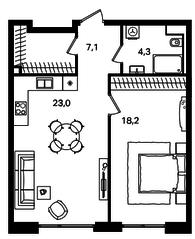 МФК «Level Павелецкая», планировка 2-комнатной квартиры, 52.60 м²