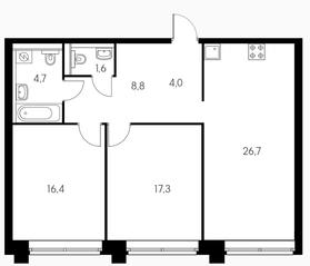 МФК «Пресненский вал 21», планировка 2-комнатной квартиры, 79.50 м²