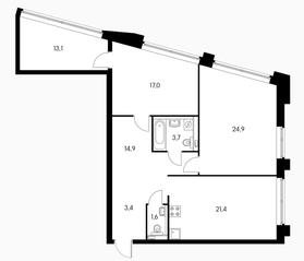 МФК «Пресненский вал 21», планировка 3-комнатной квартиры, 93.60 м²