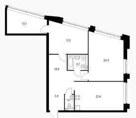 МФК «Пресненский вал 21», планировка 3-комнатной квартиры, 100.00 м²