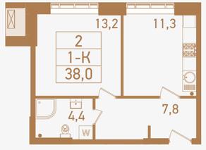 ЖК «Городские резиденции SPIRES», планировка 1-комнатной квартиры, 38.00 м²