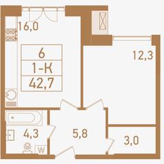 ЖК «Городские резиденции SPIRES», планировка 1-комнатной квартиры, 42.70 м²