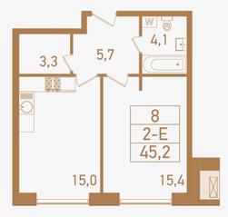 ЖК «Городские резиденции SPIRES», планировка 2-комнатной квартиры, 45.20 м²