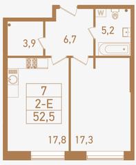 ЖК «Городские резиденции SPIRES», планировка 2-комнатной квартиры, 52.50 м²