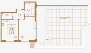 ЖК «Городские резиденции SPIRES», планировка 2-комнатной квартиры, 83.10 м²