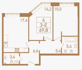 ЖК «Городские резиденции SPIRES», планировка 3-комнатной квартиры, 69.80 м²