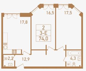 ЖК «Городские резиденции SPIRES», планировка 3-комнатной квартиры, 74.00 м²