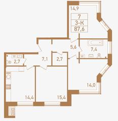 ЖК «Городские резиденции SPIRES», планировка 3-комнатной квартиры, 87.60 м²