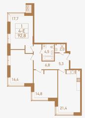 ЖК «Городские резиденции Spires», планировка 4-комнатной квартиры, 92.80 м²