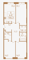 ЖК «Городские резиденции Spires», планировка 4-комнатной квартиры, 104.30 м²