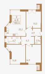 ЖК «Городские резиденции Spires», планировка 4-комнатной квартиры, 100.40 м²