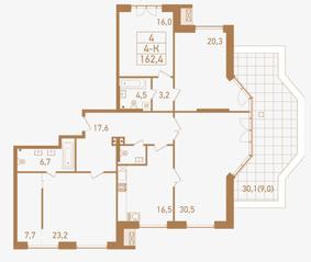 ЖК «Городские резиденции SPIRES», планировка 4-комнатной квартиры, 162.40 м²