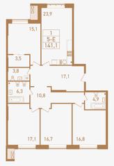 ЖК «Городские резиденции SPIRES», планировка 5-комнатной квартиры, 141.10 м²