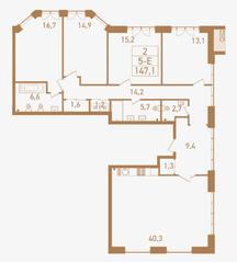 ЖК «Городские резиденции SPIRES», планировка 5-комнатной квартиры, 147.10 м²
