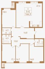 ЖК «Городские резиденции SPIRES», планировка 5-комнатной квартиры, 164.30 м²