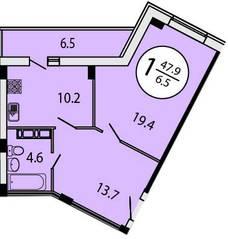 ЖК «Батарейный», планировка 1-комнатной квартиры, 47.90 м²