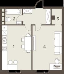 ЖК «The Mostman», планировка 1-комнатной квартиры, 52.02 м²