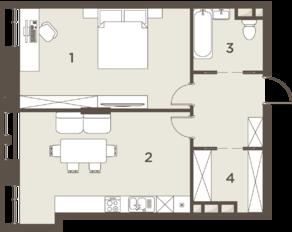ЖК «The Mostman», планировка 2-комнатной квартиры, 64.26 м²