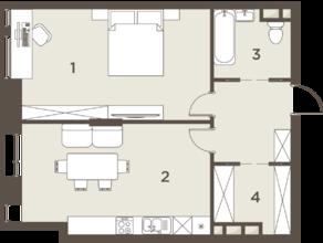 ЖК «The Mostman», планировка 2-комнатной квартиры, 62.97 м²