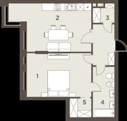 ЖК «The Mostman», планировка 2-комнатной квартиры, 63.36 м²