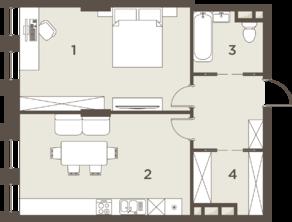 ЖК «The Mostman», планировка 2-комнатной квартиры, 64.00 м²