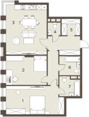 ЖК «The Mostman», планировка 3-комнатной квартиры, 101.23 м²