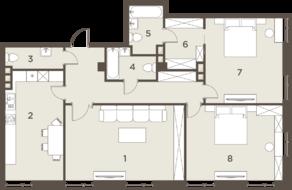 ЖК «The Mostman», планировка 3-комнатной квартиры, 127.94 м²