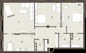 ЖК «The Mostman», планировка 3-комнатной квартиры, 147.00 м²
