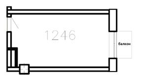 МФК «Co_Loft», планировка студии, 23.10 м²