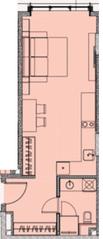 МФК «Soho+Noho», планировка студии, 36.27 м²