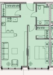 МФК «Soho+Noho», планировка 2-комнатной квартиры, 58.07 м²
