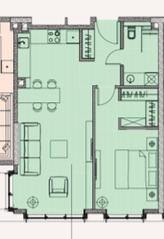 МФК «Soho+Noho», планировка 2-комнатной квартиры, 56.03 м²